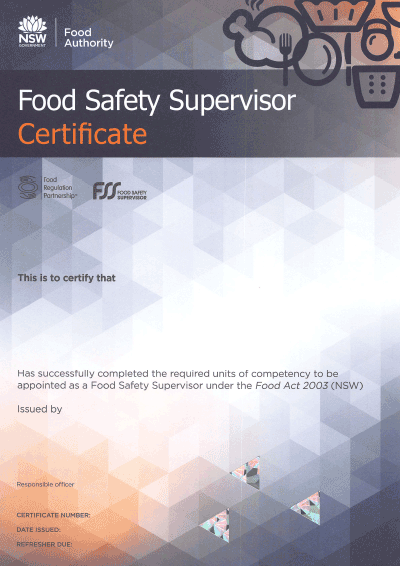 NSW Food Authority Certificate