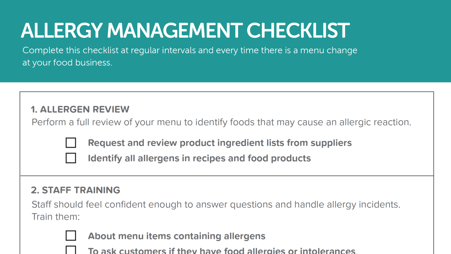 Allergy Management Checklist