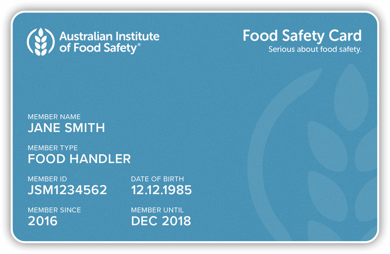 blue food safety card